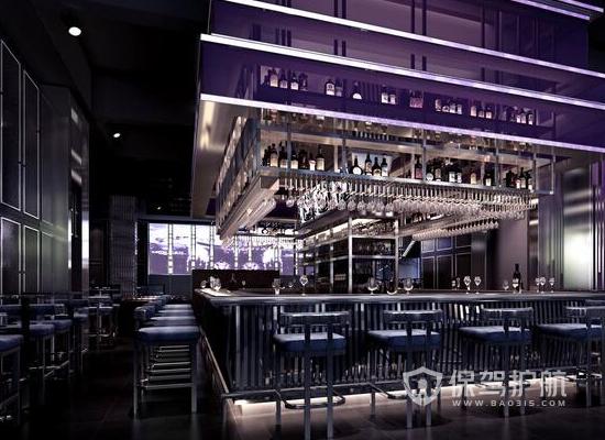 98平米工业风格酒吧吧台装修效果图