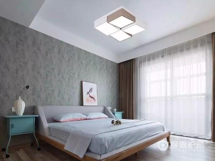 現代簡約風臥室方形吸頂燈裝修效果圖