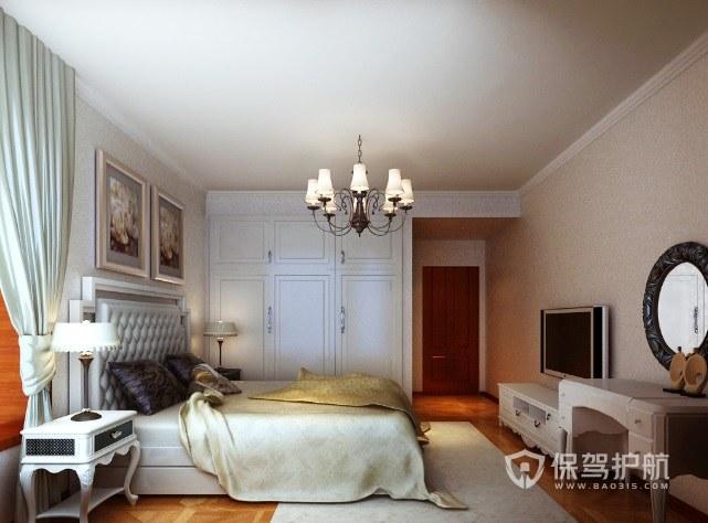 美式溫馨風臥室多頭燭臺吊燈裝修效果圖