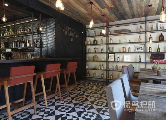 57平米黑色现代风格酒吧装修效果图