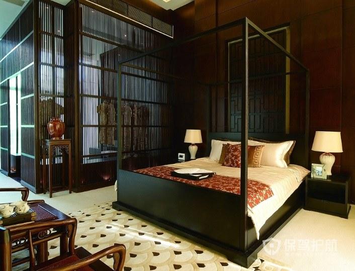 中式復古淡雅風臥室木制背景墻裝修效…