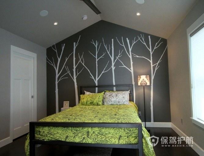现代创意卧室背景墙艺术彩绘装修效果图