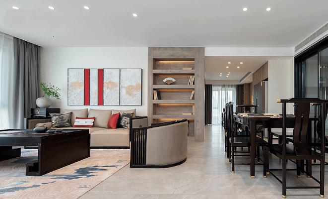 140㎡轻奢新中式3室2厅,纷繁都市中的诗意栖居