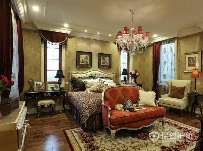 歐式復古風臥室背景墻裝飾畫裝修效果…