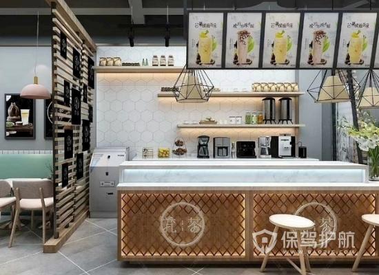 82平米工业风格奶茶店装修实景图