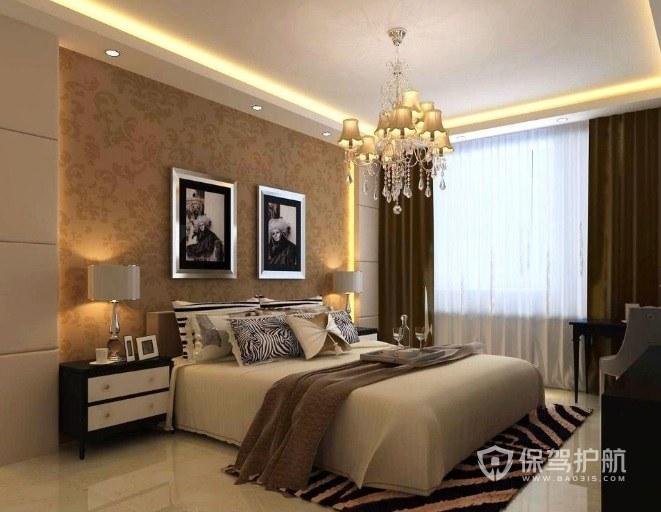 美式温馨风卧室背景墙墙纸装修效果图