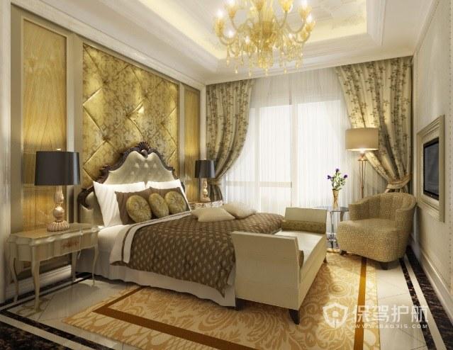 美式復古輕奢風臥室背景墻軟包裝修效…
