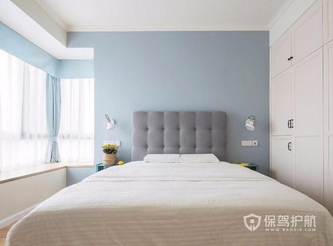简约小清新风卧室油漆背景墙装修效果图