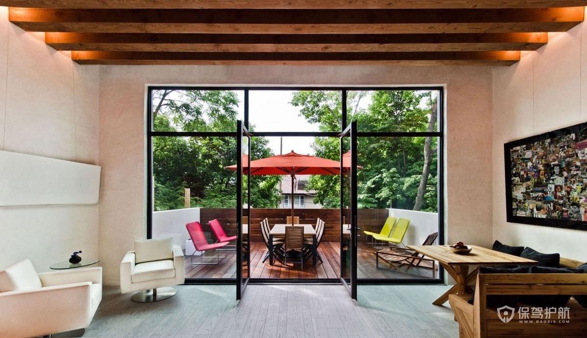 混搭风格别墅客厅落地窗装修效果图