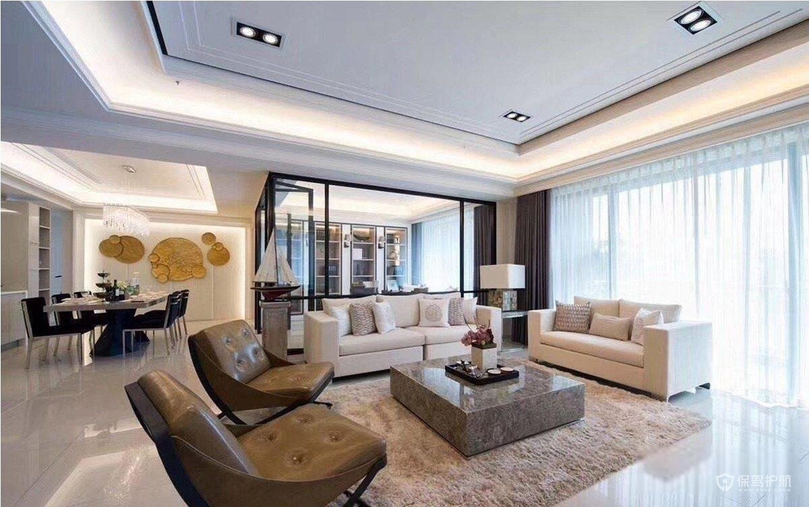 新古典风三居室客厅落地窗装修效果图…