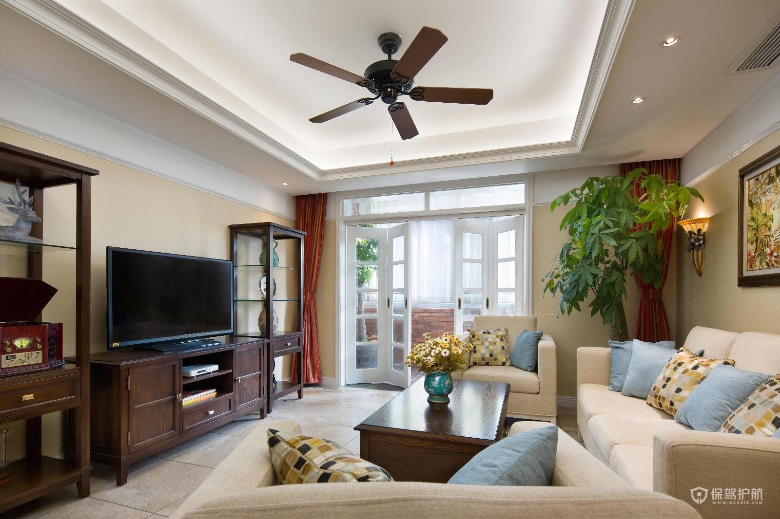 美式风格三居室客厅落地窗装修效果图…