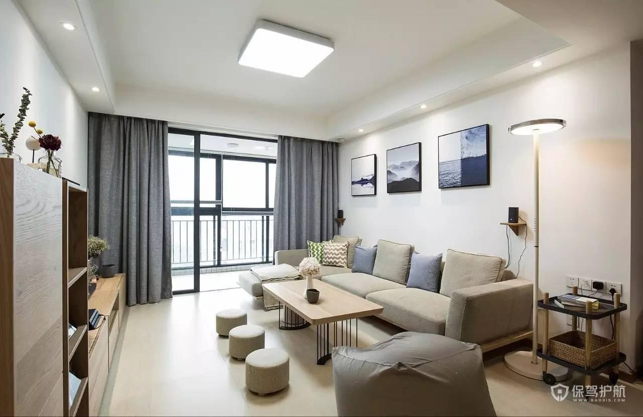 90平日式风格三居室客厅落地窗装修效…