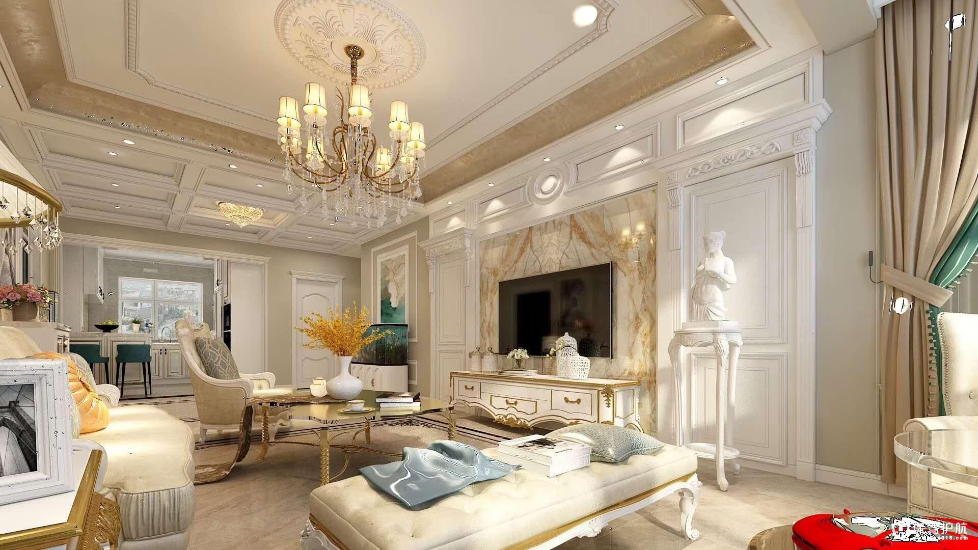 御景华城欧式风格三居室装修效果图