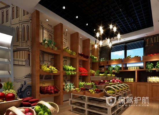 25平米田园风格水果店装修效果图