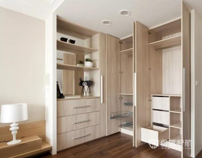 简约日式风卧室定制直角衣柜装修效果…