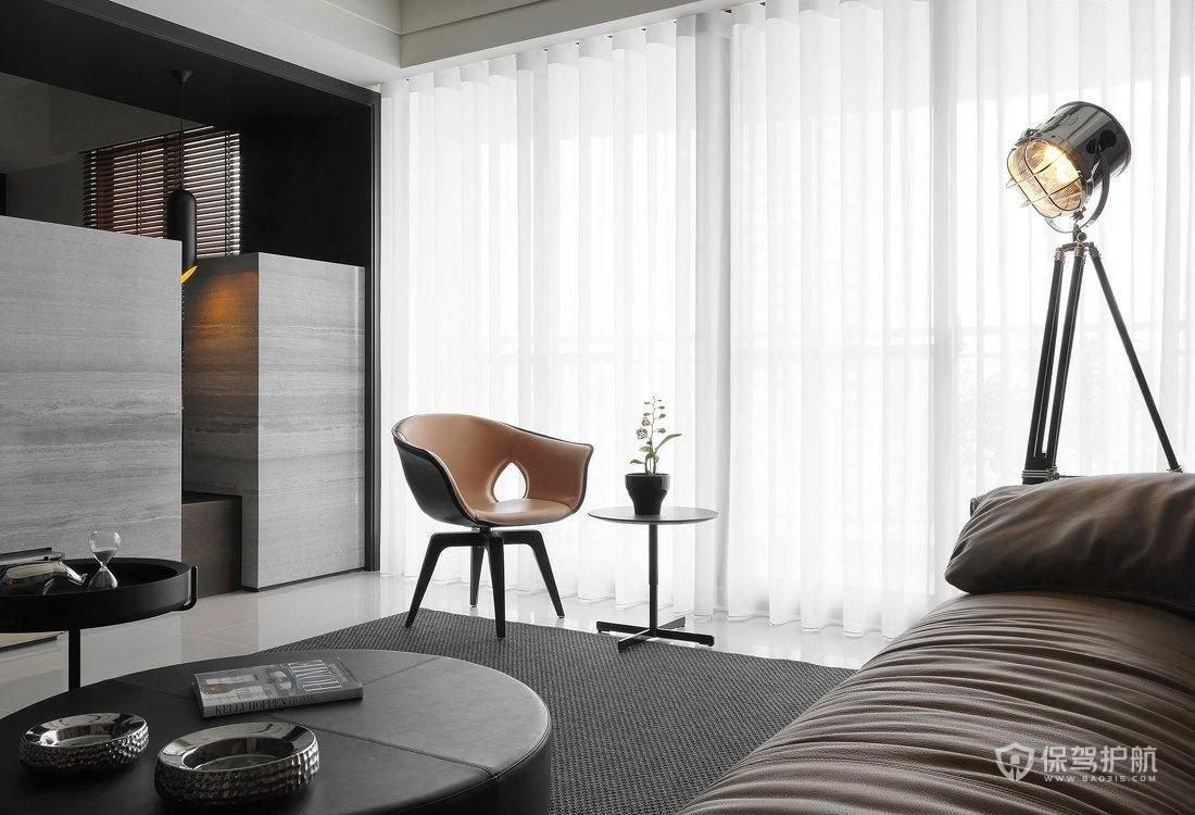现代意大利风三居室客厅落地窗装修效…