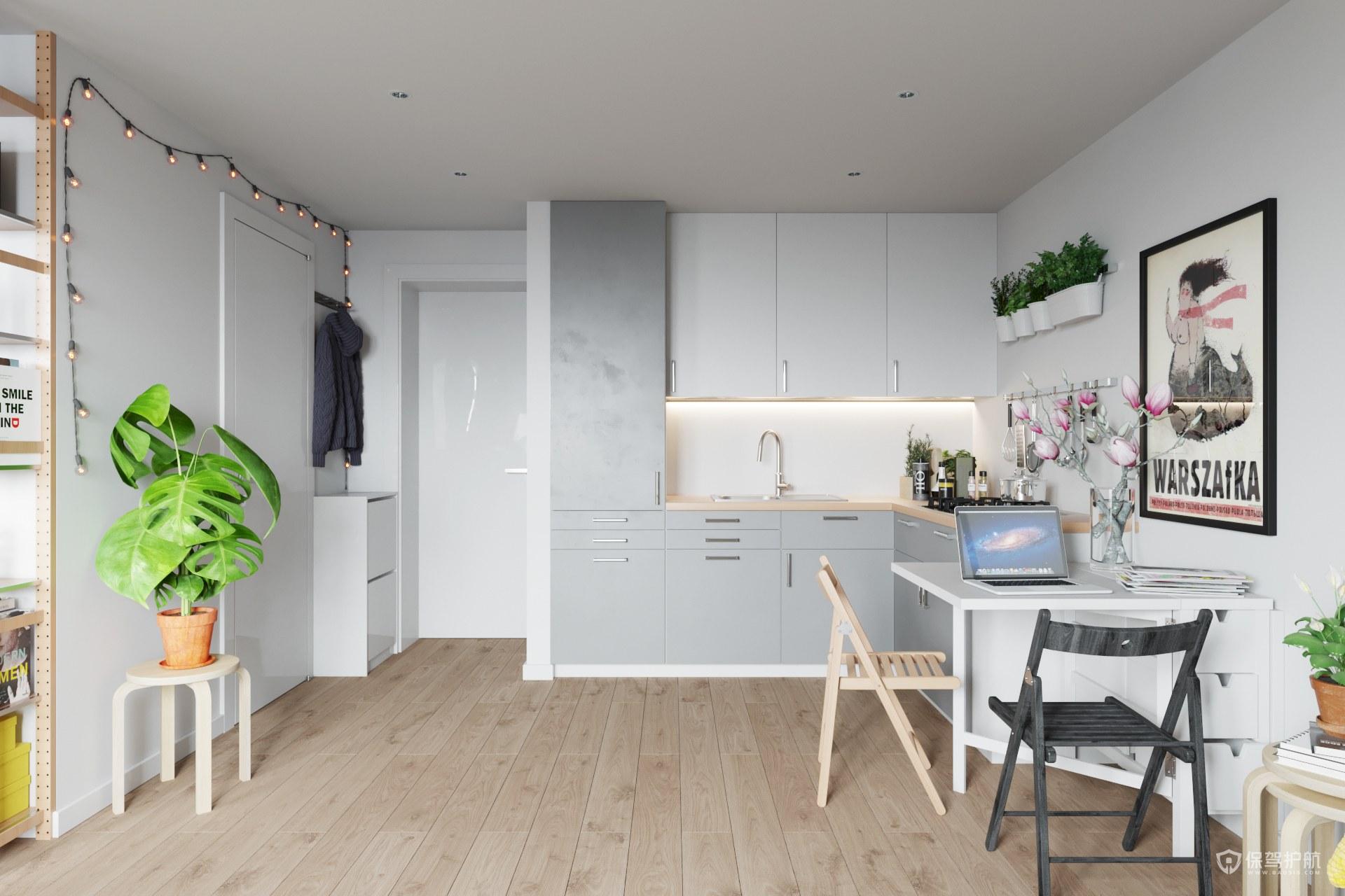 清新北欧风小户型厨房装修效果图