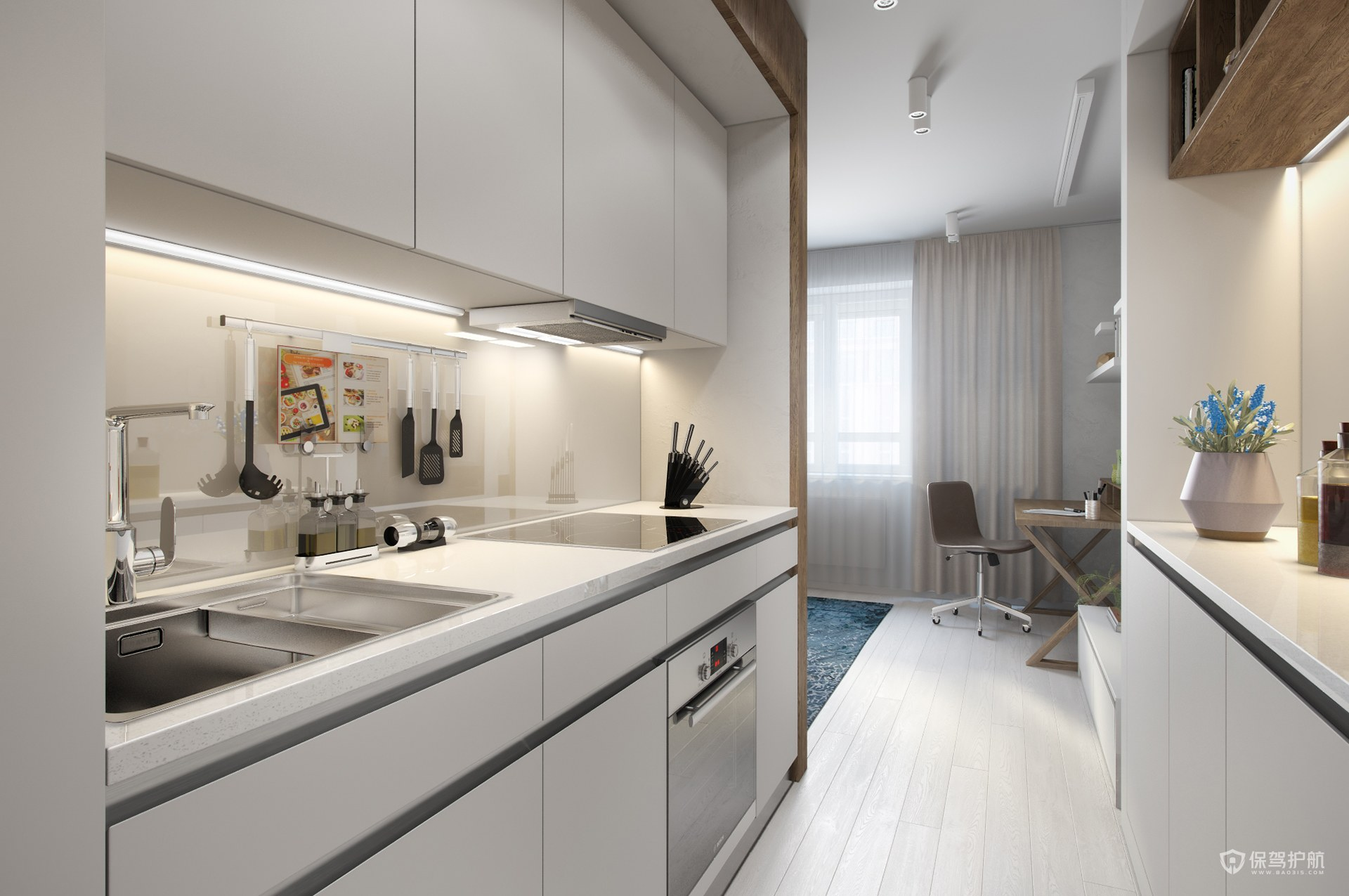 50平简约风公寓厨房亚搏体育平台app效果图