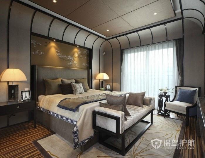 新中式轻奢风卧室吊顶装修效果图