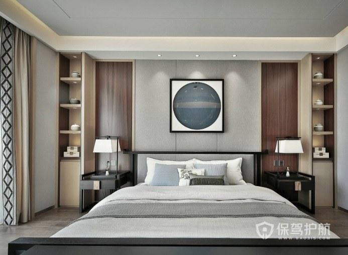 新中式卧室床头两侧置物柜装修效果图