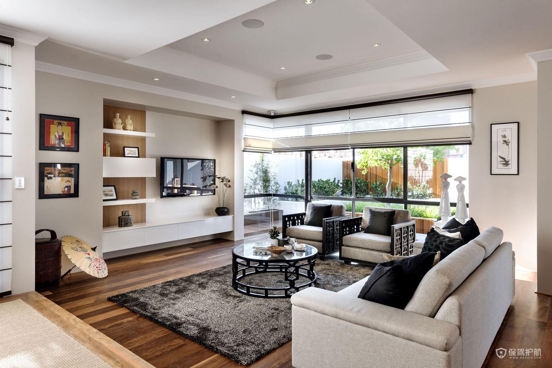 现代混搭中式别墅客厅装修效果图