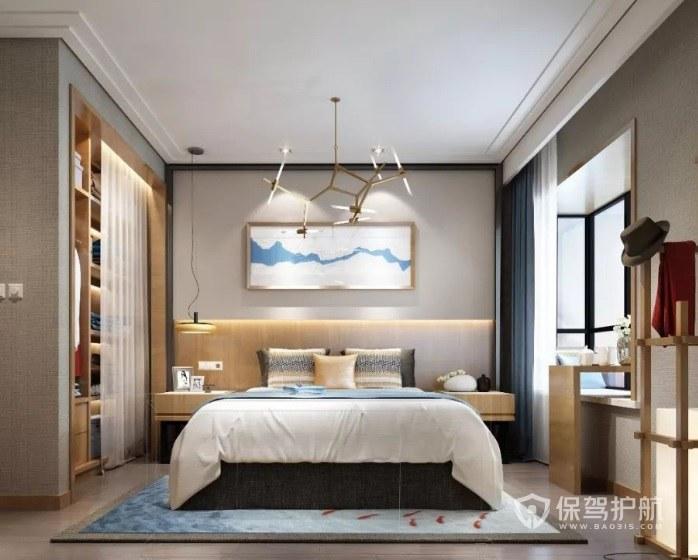 新中式简约风卧室树枝状灯具装修效果图