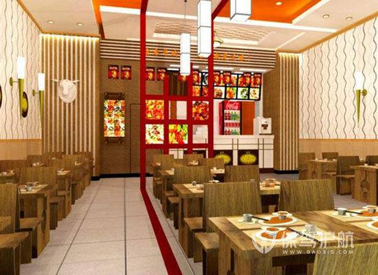 45平米中式风格快餐店装修效果图