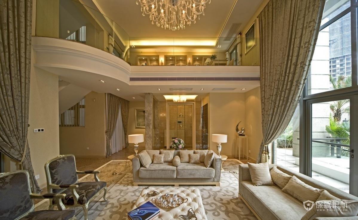 豪华欧式别墅客厅装修效果图
