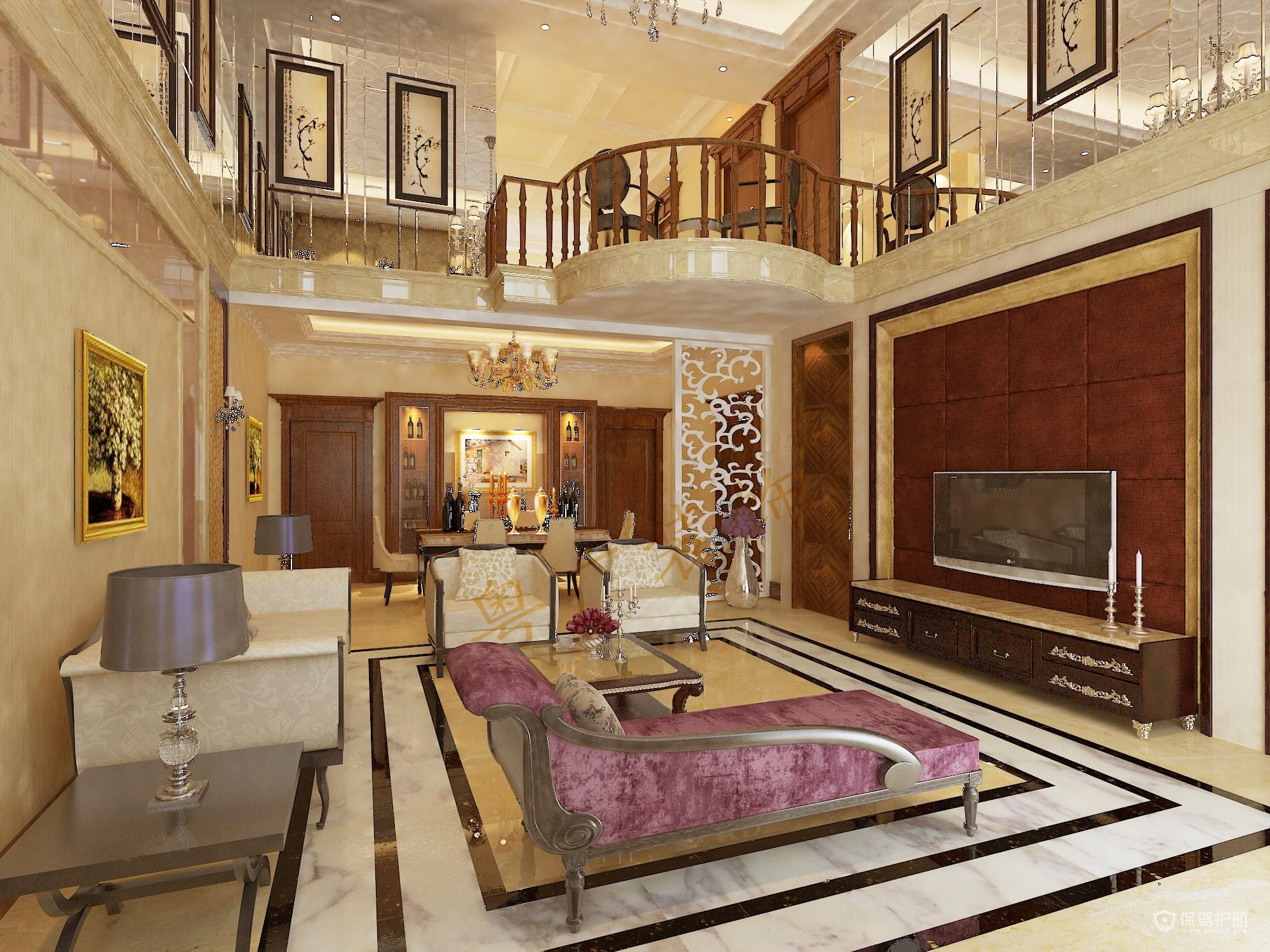 新古典风别墅客厅装修效果图