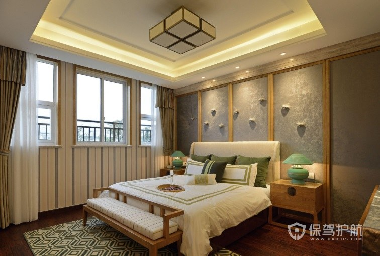 新中式卧室创意陶瓷床头灯装修效果图