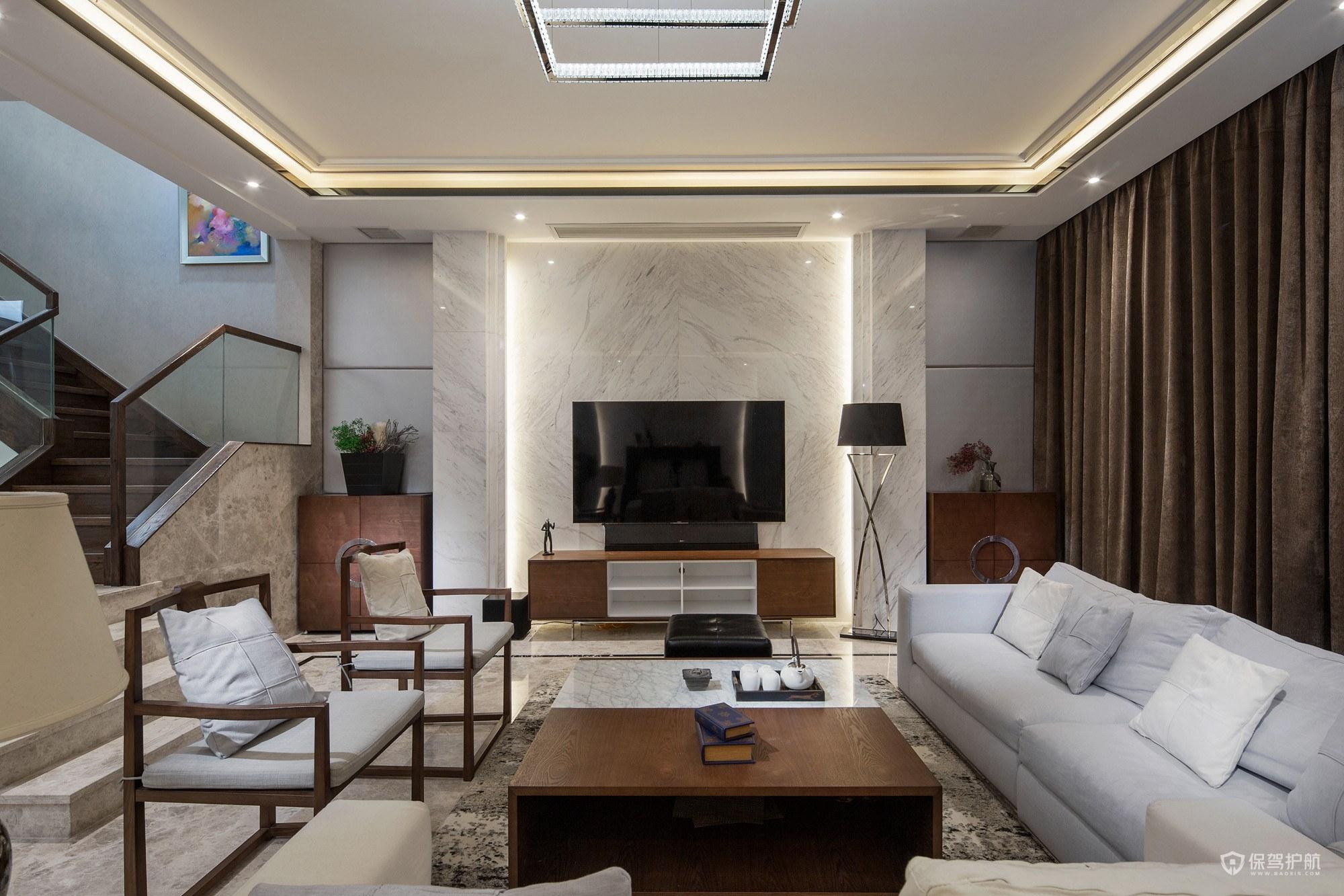简约中式风格复式楼客厅装修效果图