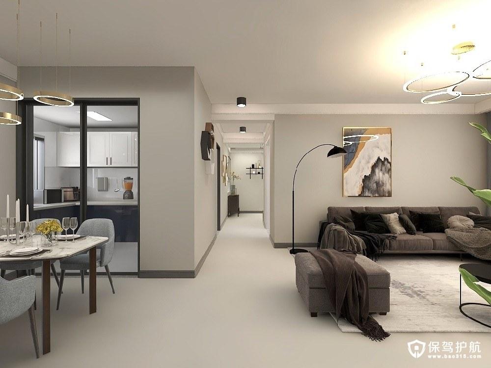 尚城小区130平流畅的现代简约风格三居室装修效果图