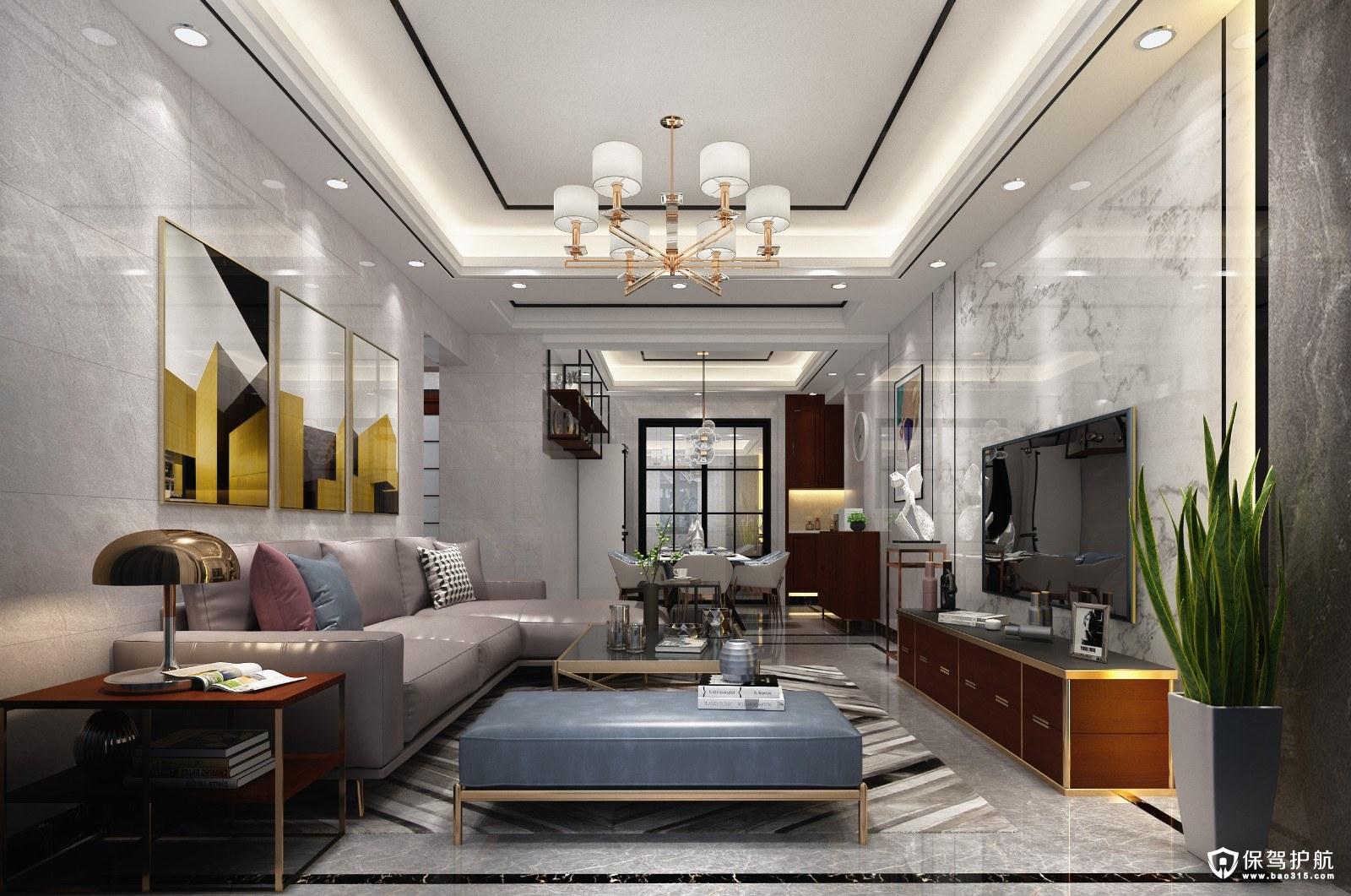 翡翠湖玫瑰园现代简约风格三居室装修效果图