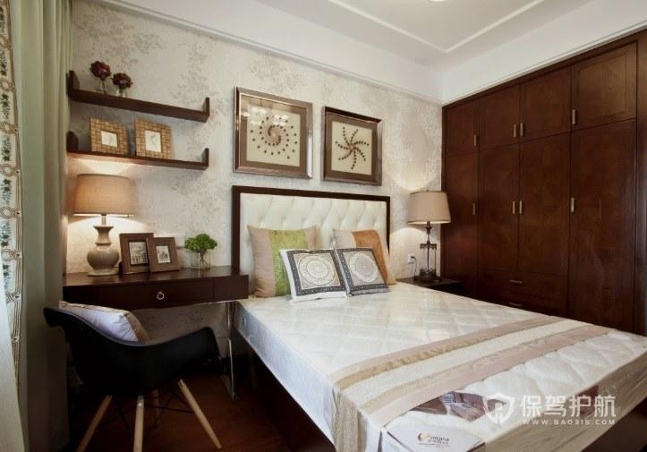 新中式文艺风卧室墙面置物架效果图
