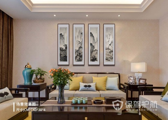 新中式沙发背景墙挂画-保驾护航装修网