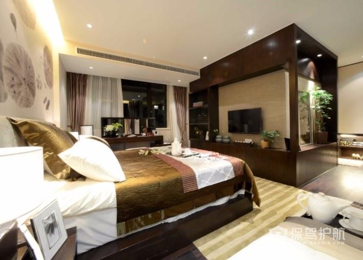 新中式卧室背景墙山水画装修效果图