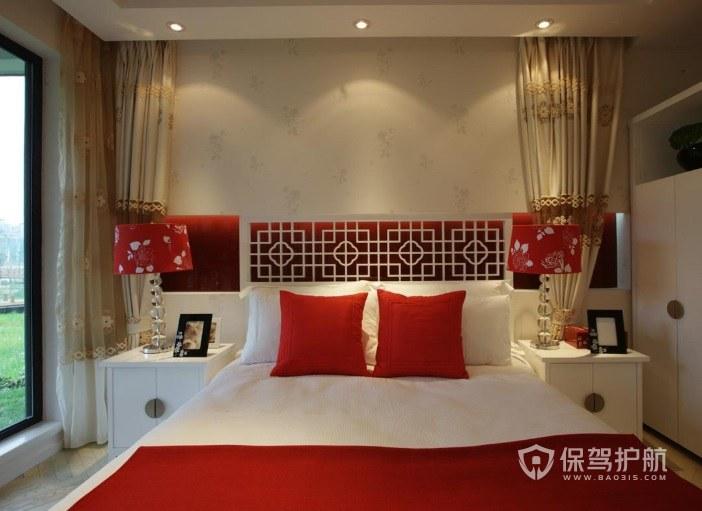 新中式婚房雕花板装饰背景墙装修效果…