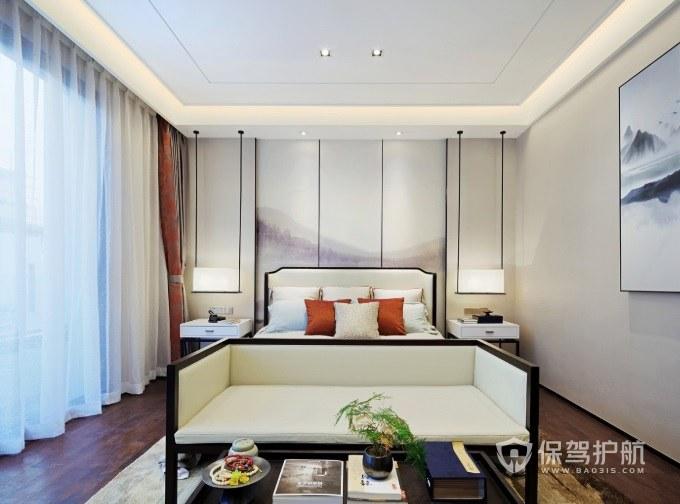 现代新中式风卧室床头吊灯装修效果图…