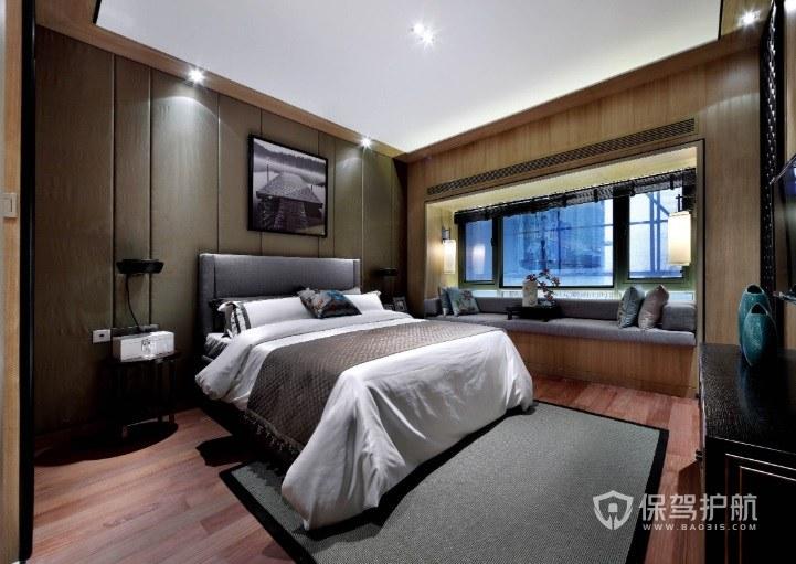 新中式卧室飘窗改休闲区装修效果图