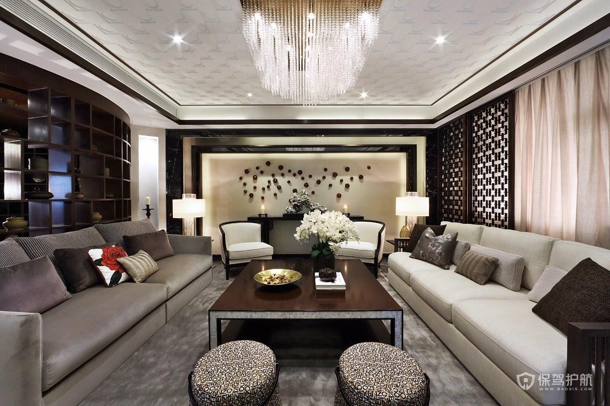 现代中式风格别墅客厅装修效果图
