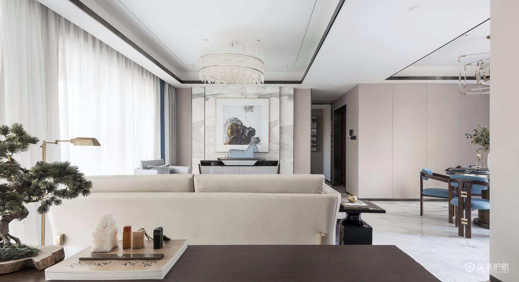 160平新中式風格三居室客廳裝修效果…