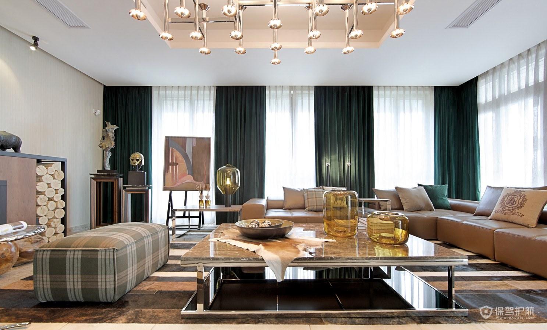 简约意式风格大平层客厅装修效果图