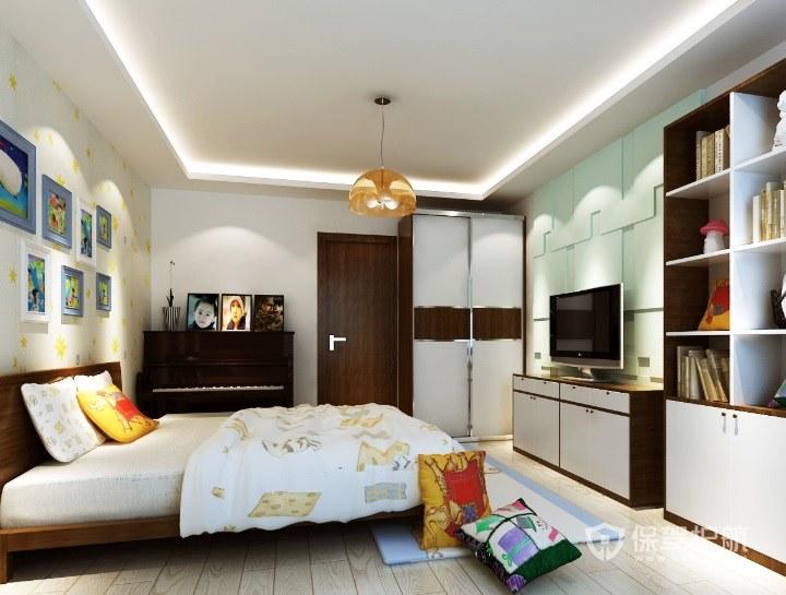 中式简约风卧室电视背景墙装修效果图