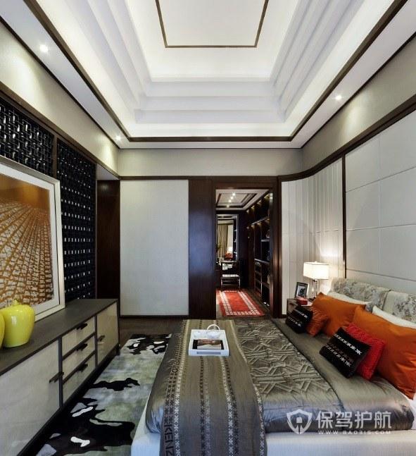 新中式轻奢风卧室迭级吊顶装修效果图…