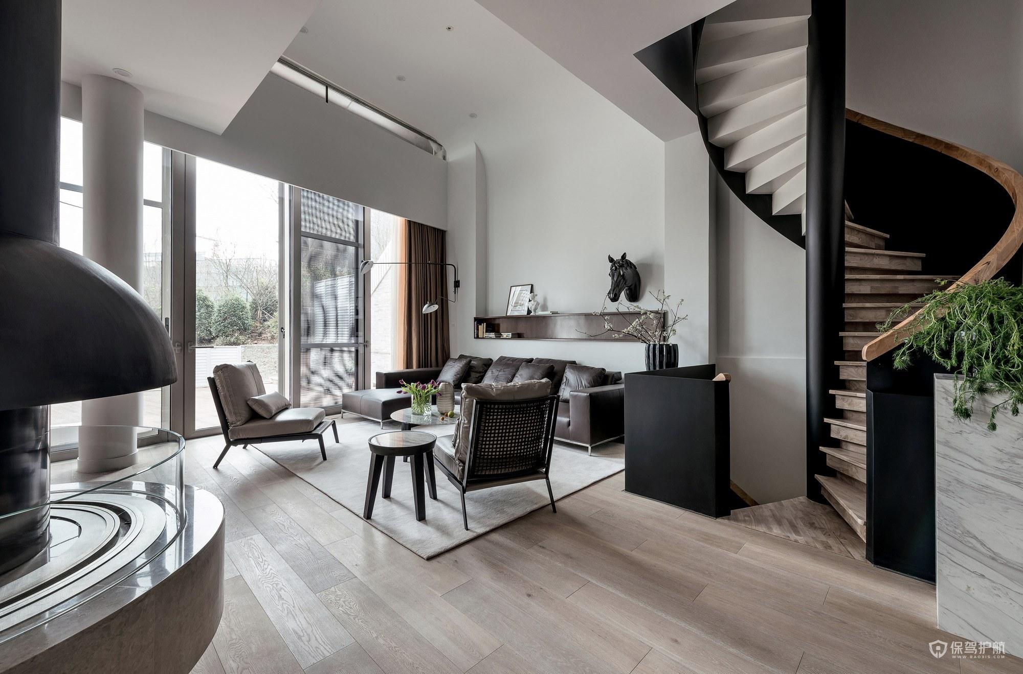 创意现代风格复式公寓客厅装修效果图…
