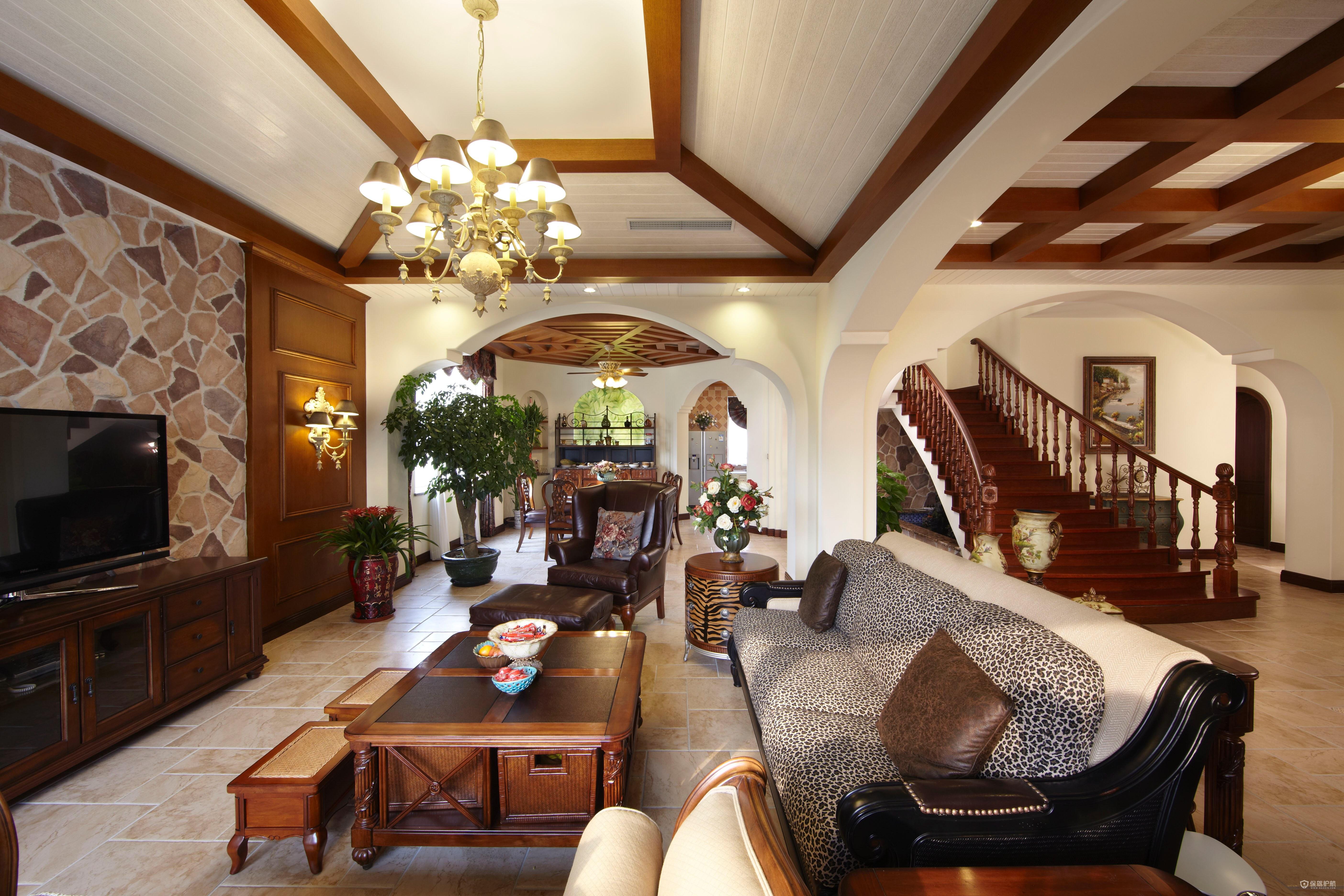 古典乡村美式风格别墅客厅装修效果图…