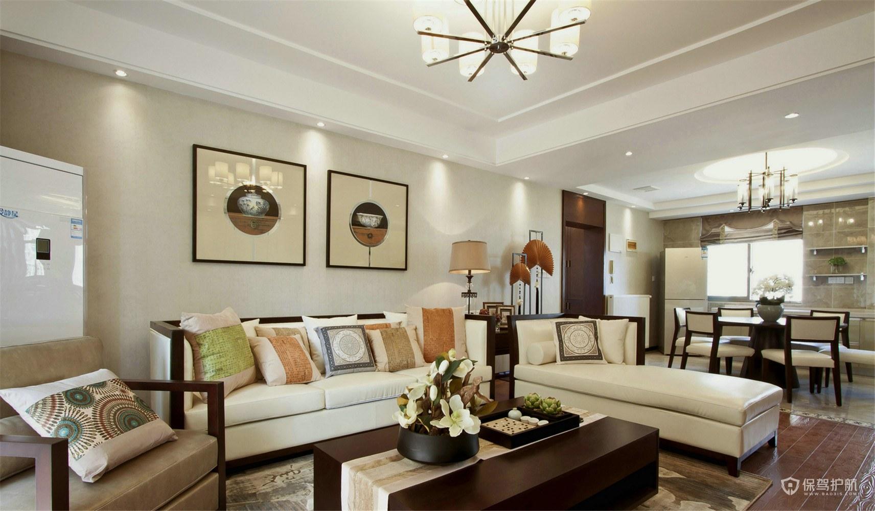 110平新中式风三居室客厅装修效果图…