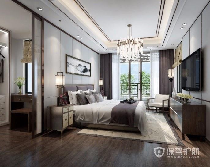 新中式古典风卧室阳台雕花板门装修效…