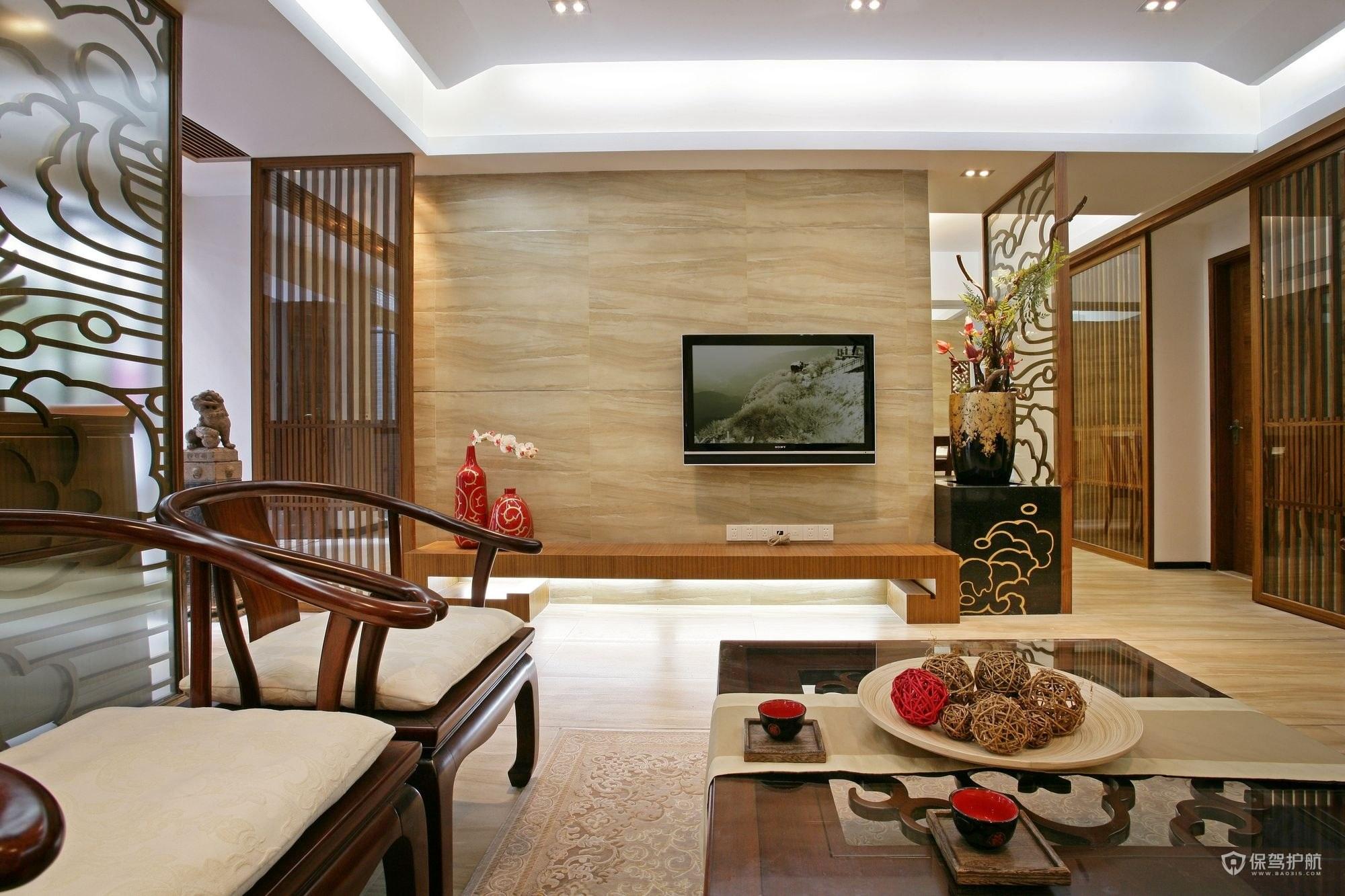 新中式风格别墅客厅电视墙装修效果图…