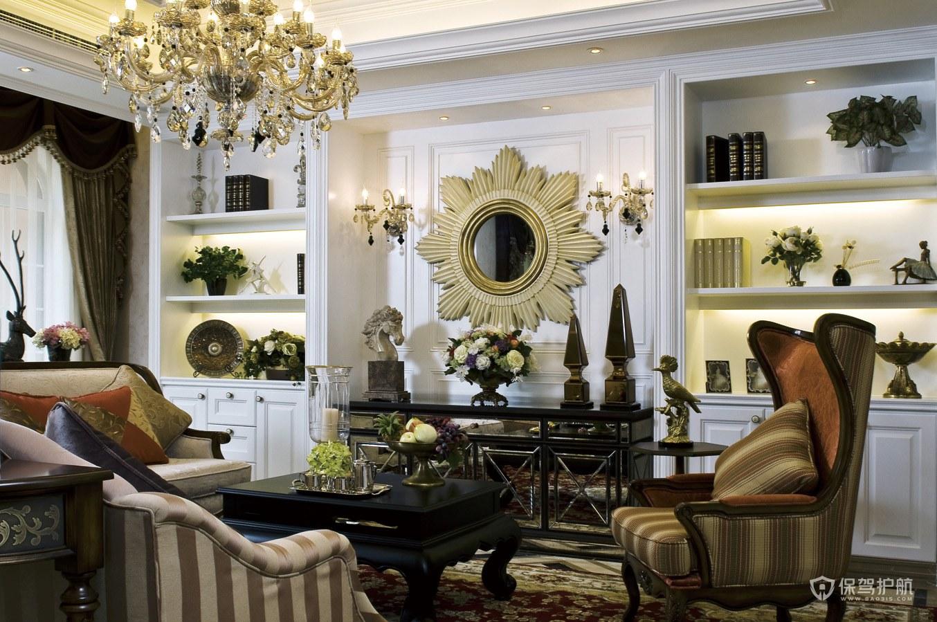 豪华欧式风格别墅客厅橱柜装修效果图…